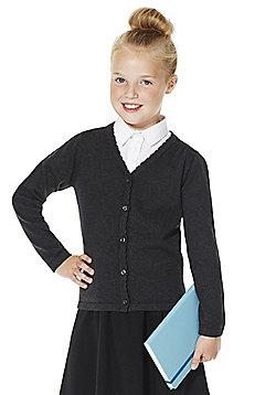 F&F School Girls Scallop Trim Cardigan with As New Technology - Grey