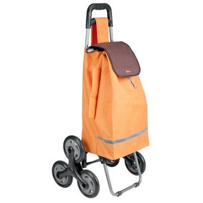 Metaltex 40 Litre Capacity 6-Wheel Poppy Kerb and Stair Climbing Shopping Trolley - Orange