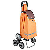 Metaltex 40 Litre Capacity 6-Wheel Poppy Kerb and Stair Climbing Shopping Trolley - Orange