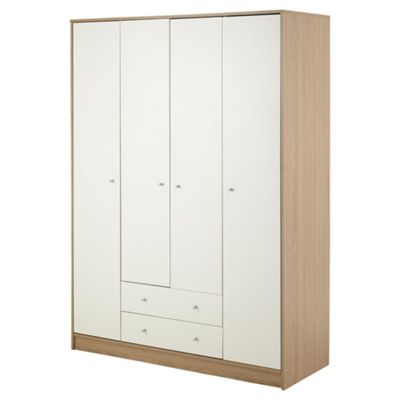 Tolke 4 Door Wardrobe with 2 Drawers, Ivory