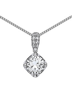 Rhodium Plated Sterling Silver Round Brilliant Cubic Zirconia Crown Pendant Necklace 18 inch