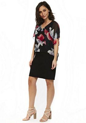 Wallis Floral Print Overlayer Dress Black 12