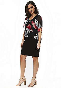 Wallis Floral Print Overlayer Dress - Black