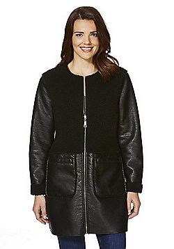 Vero Moda Mixed Texture Faux Leather Collarless Coat - Black