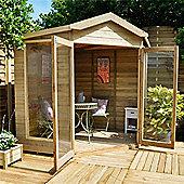 7 x 7 Rock Blockley Corner Summerhouse - Assembled Garden Wooden Summerhouse 7ft x 7ft (2.14m x 2.14m)