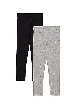 F&F 2 Pack of Glitter Heart and Plain Leggings - Black & Grey