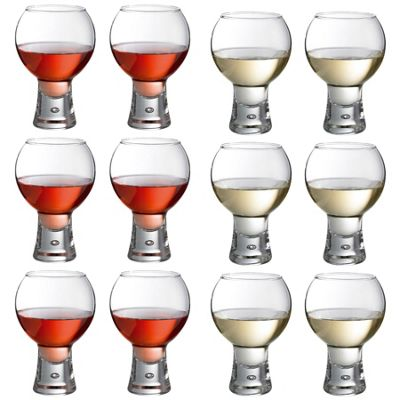 Durobor Alternato Short Stem Wine Glass - 330ml and 410ml - Set of 12 Glasses