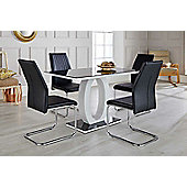 Giovani Black/White High Gloss Glass Dining Table and 4 Black Lorenzo Chairs