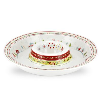 Portmeirion Christmas Wish Porcelain Chip & Dip Dish