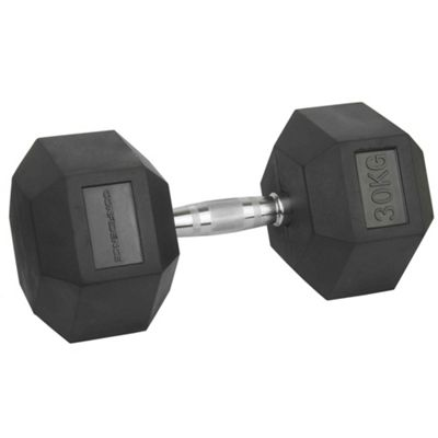 Confidence Fitness 30Kg Anti-Roll Hex Rubber-Coated Cast Dumbbells Weights