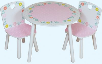 Country Cottage flowered style table and 2 chairs