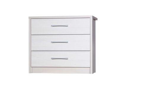 Alto Furniture Avola 3 Drawer Chest - Cream Carcass With White Avola