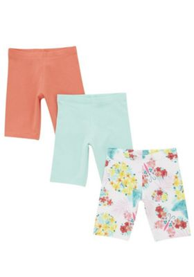 F&F 3 Pack of Floral and Plain Cycling Shorts Multi 12-18 months