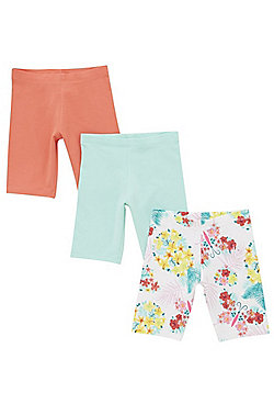 F&F 3 Pack of Floral and Plain Cycling Shorts - Multi