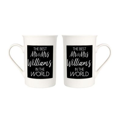 Quirky and Modern Best Mr and Mrs Williams In The World Mug Set