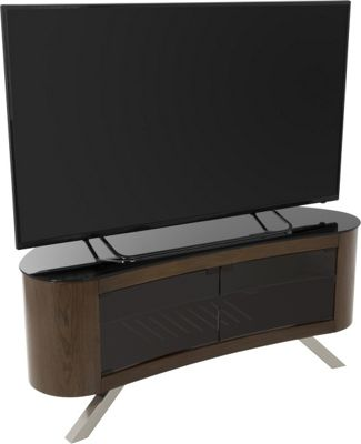 AVF Bay Curved TV Stand For up to 55 inch TVs - Walnut