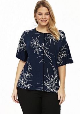 Evans Sketched Floral Print Plus Size Top Navy/White 18