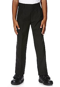 "F&F School 2 Pack of Boys Teflon EcoElite""™ Plus Fit Pleat Front Trousers - Black"
