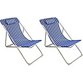Pack Of 2 Harbour Housewares Metal Garden Deck Chair - 3 Positions Blue / White