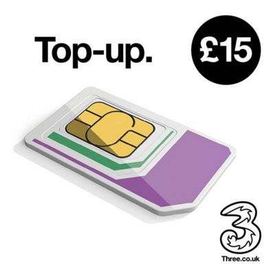 Three £15 mobile Top Up