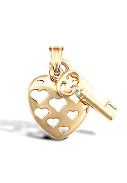 9ct Yellow Gold Heart And Key Pendant