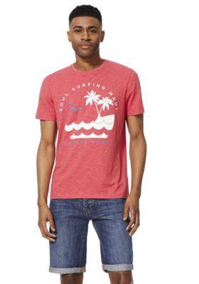 F&F Soul Surfing Slub Jersey T-Shirt Coral XL