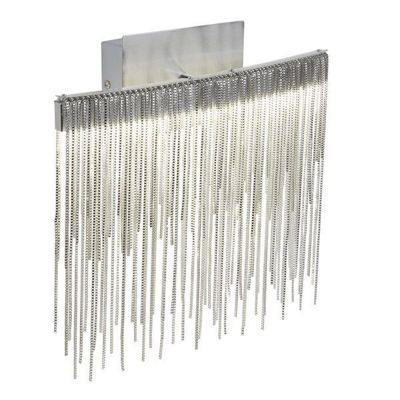 MEMPHIS LED WALL BRACKET, SATIN SILVER, CHAIN LINK WATERFALL DRESSING
