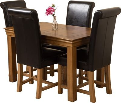 French Chateau Rustic Solid Oak 120 cm Dining Table with 4 Black Washington Chairs