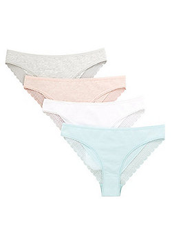 F&F 4 Pack of Lace Trim Brazilian Briefs with As New Technology - Multi