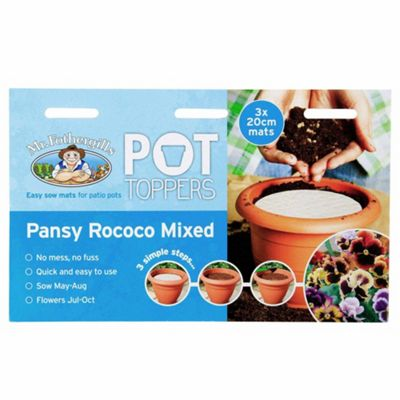 Mr Fothergill's Pansy Rococo Mix Flower Garden Plant Pot Topper