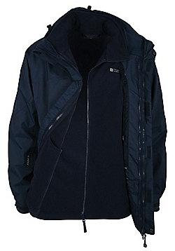 Mens Storm 3 in 1 Waterproof Rainproof Jacket Coat + Fleece - Blue