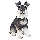 Realistic 33cm Sitting Miniature Schnauzer Dog Statue Garden Ornament