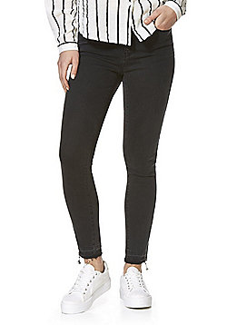 Vero Moda Ankle Zip Mid Rise Slim Leg Jeans - Black wash