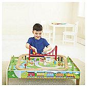 Carousel Train Table & 56 Piece Train Set