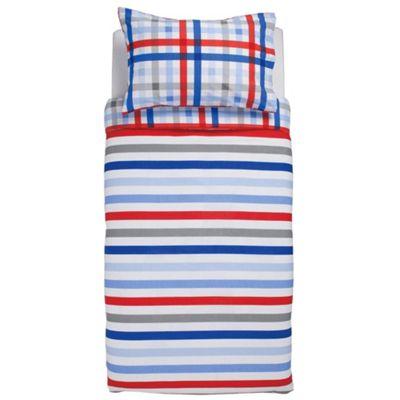 Tesco Kids Stripe Duvet Set, Double, Blue & Red