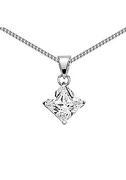 Jewelco London Rhodium-Coated Sterling Silver CZ Solitaire Pendant