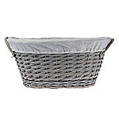 Homescapes Grey Oval Willow Wicker Linen Basket with White Lining