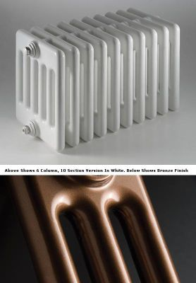 DQ Heating Peta 3 Column Designer Radiator - 492mm High x 450mm Wide - 10 Sections - Bronze