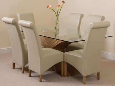 Valencia Glass & Oak 200 cm Dining Table with 6 Ivory Montana Leather Chairs