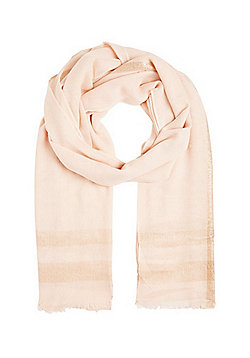 F&F Metallic Thread Border Scarf - Pale pink
