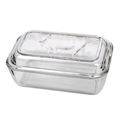 Clear Glass Cow Butter Dish