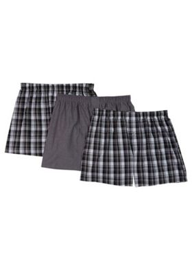 F&F 3 Pack of Checked Woven Boxers with As New Technology Black M