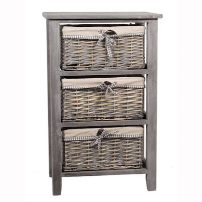 Grey Paulownia Wood 3 Drawer Unit with Plain Linin