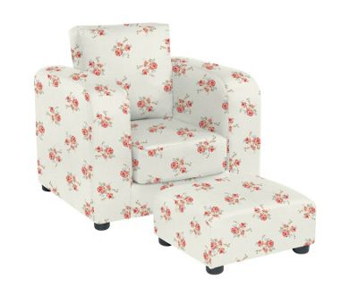 Chair with Footstool - Rose Natural