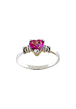 QP Jewellers Diamond & Pink Topaz Heart Ring in 14K White Gold