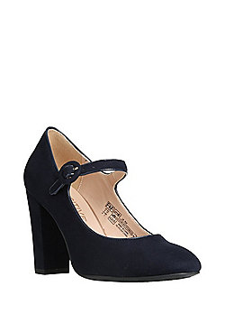 F&F Sensitive Sole Faux Suede Mary Jane Shoes - Navy