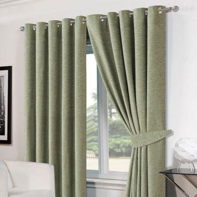 Dreamscene Pair Eyelet Chenille Curtains and Tiebacks, Soft Green - 46