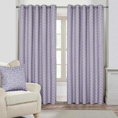 Lilac Geometric Jacquard Blackout Eyelet Curtain Pair, 90 x 72