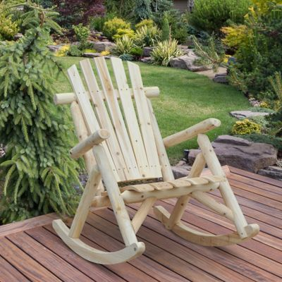 Outsunny Cedar Wood Ergonomic Rocking Chair Porch Rocker Garden - Burlywood