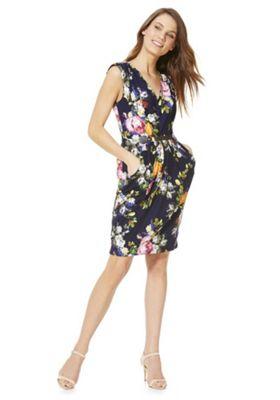 Mela London Floral Print Belted Dress Blue 8